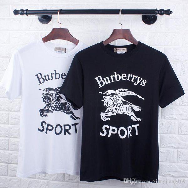 19 moda parisino nuevo caballo de caballo clásico flocado impresión de manga corta hombres y mujeres camiseta ocasional