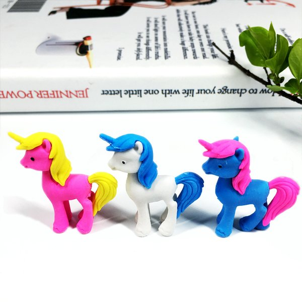 Cute Animal Rubber Cartoon Unicorn Pony Eraser Children Learning Stationery Kawaii School Supplies Papelaria Gift for Kids J190725
