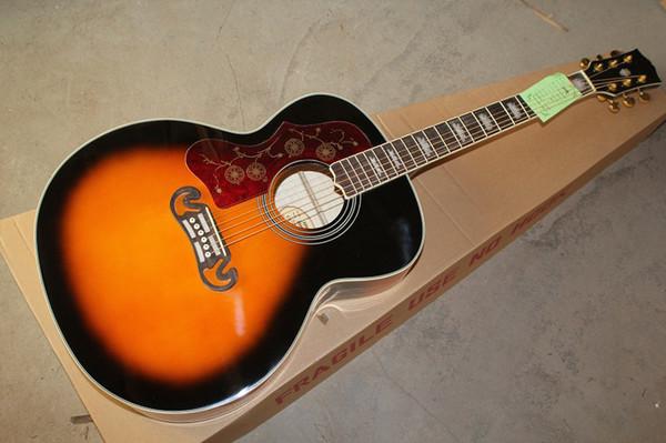 Envío gratis 2019 nueva venta al por mayor zurdo SJ200 guitarra acústica Vintage Sunburst guitarra acústica 6 cuerdas guitarra