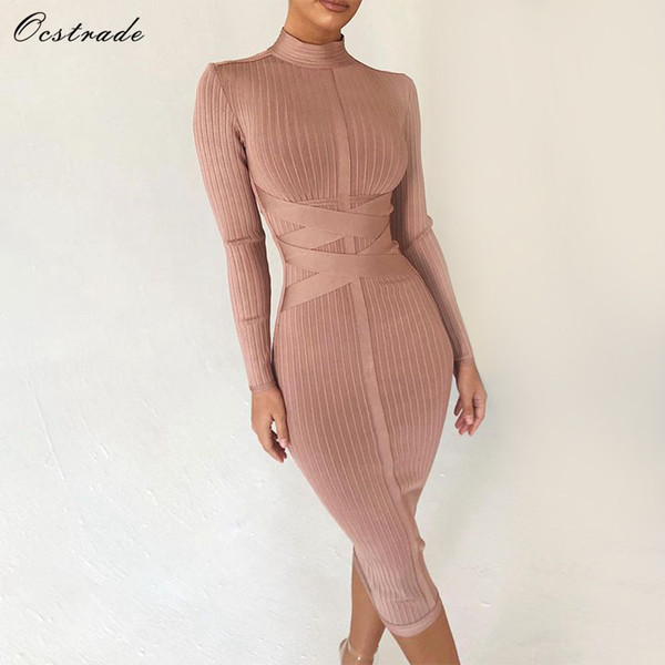Ocstrade Bodycon Dress 2019 Nude Turtleneck Rayon Long Sleeve Bandage Dress High Quality Ribbed Womens Midi Bandage Dress Sexy T3190610