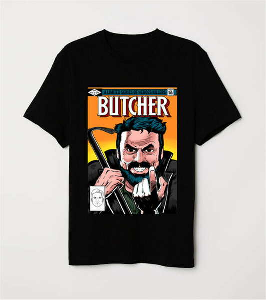 The Boys Billy Butcher O Sete Heróis assassino tampa cómica Parody Preto T-shirt Harajuku Hip Hop Camiseta