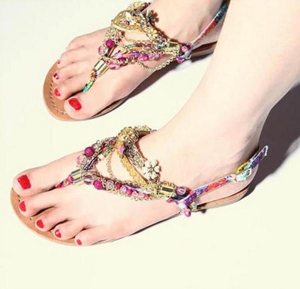 2019 fashion leisure diamond beads sweet pinch flat sandals Bohemian sandals women sandals