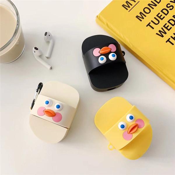 Cute Cartoon Duck Slippers Case para Apple Airpods Cover Wireless Bluetooth Earphone Case para Air Pods Headphone Case Box Silicone Cool 2019