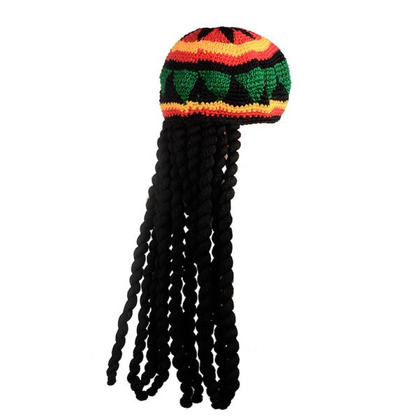 Miya Mona Men Novelty Knitted Wig Braid Hat Bob Marley Rasta Beanie Male Jamaican Headwear Tassel Hair Accessories Halloween Costumes