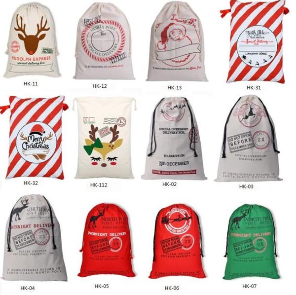 top popular 2020 Christmas Large Canvas Monogrammable Santa Claus Drawstring Bag With Reindeers, Monogramable Christmas Gifts Sack Bags 1050 2019
