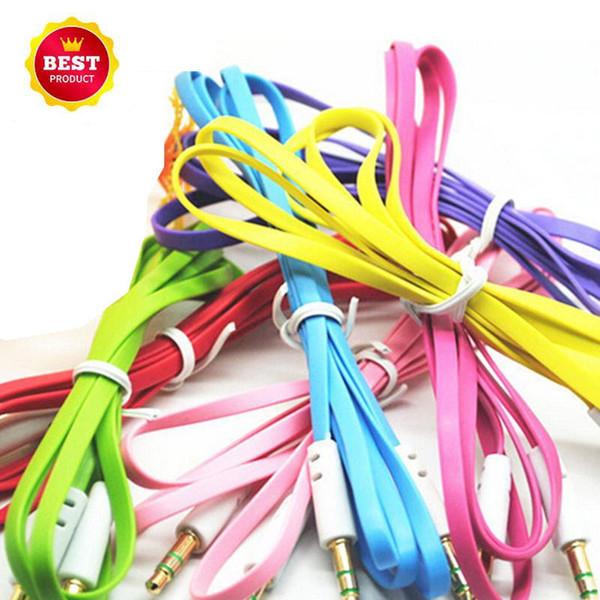 Conector de cable auxiliar de audio auxiliar de fideos planos coloridos de 3,5 mm Conector macho a macho Cable de cable estéreo para Iphone 6plus Altavoz del teléfono móvil