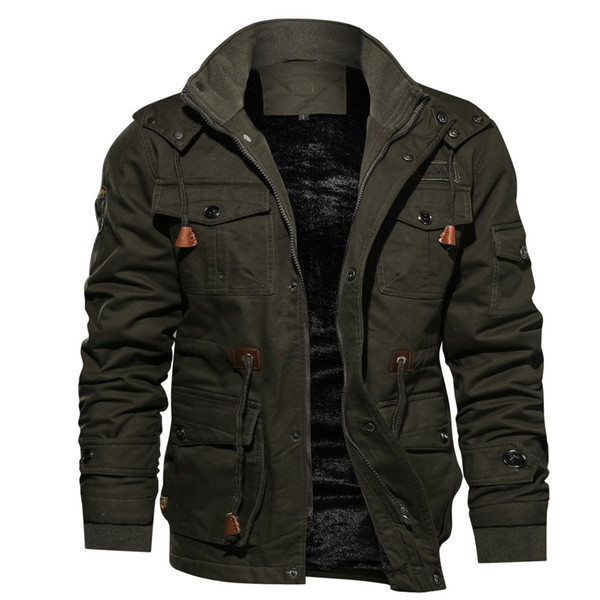 Men Jackets Coats Faux Fur Lined Waist Drawstring Cargo Jacket Men Long Sleeves Zipper Jackets 2020 Winter Casual Coats