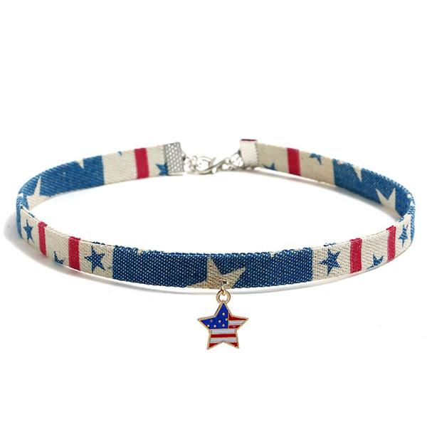 Jeans-Halskette im europäischen und amerikanischen Stil Innovativer Fünfzackiger Stern-Flaggen-Halsketten-Kettenschmuck für den amerikanischen Unabhängigkeitstag