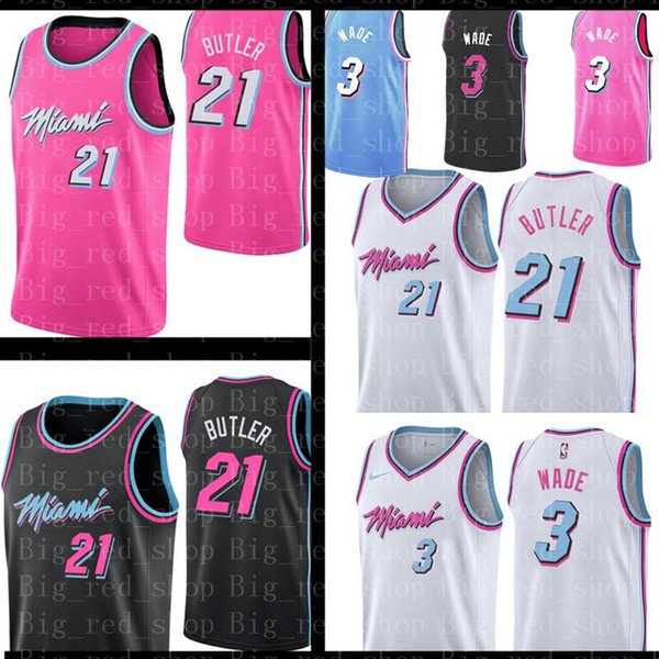 sports shoes e40a7 732ee 2019 2019 New Miami Jimmy 21 Butler Heat Jersey Heat Dwyane 3 Wade Jersey  Basketball Jerseys City Black White Pink From Flyingjersey88, $21.11 | ...