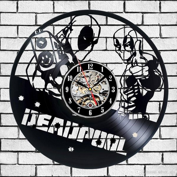 Creative Wall Clock Deadpool Made Of Vinyl Record Home Decor And Wall Art The Best Gifts For Friendssize 12inch Color Black Wall Clocks Wall Clocks