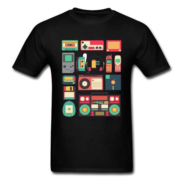 Техно игры PC тенниска Консольного Кассетного контроллер Телефон Технология Videogame Черный Tshirts для мужчин Высокого качества печати