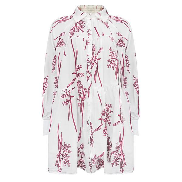 Moda-Bayan elbise yeni moda yaka nakış hollow kolay Yuanxiao manşet gömlek elbise kadın