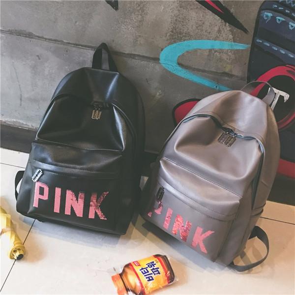 Marca-Mulheres Rosa Lantejoulas Mochila Rosa Carta Lantejoula Glitter Mochilas PU Moda Escola Bags Sacos de Viagem À Prova D 'Água Adolescente Sacos de Ombro