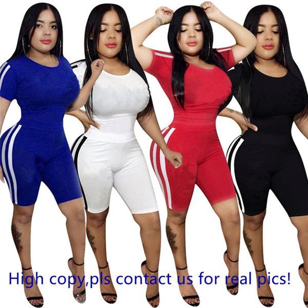 Frauen Designer Marke 2 Stück Set Trainingsanzug Outfit Kurzarm Pullover T-Shirt gestreift Leopard Leggings Shorts Sommerkleidung plus Größe 671