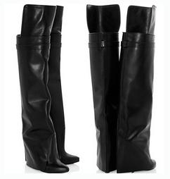 smooth leather long boots