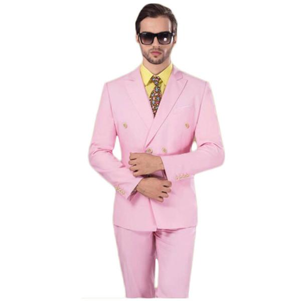 Esmoquin de novio rosa de doble botonadura Pico de solapa Trajes de hombre 2 piezas Boda / Baile de graduación / Cena Blazer (Chaqueta + Pantalones + Corbata) W810