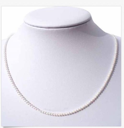 """Top AAA 3-4mm natural Akoya white Round pearl necklace 14k Yellow Gold 18/"""""""