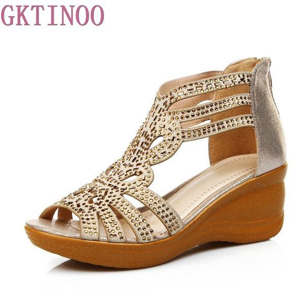 2017 Summer Hollow Out Comfortable Wedges Sandals Women Large Size 41 Female Genuine Leather Open Toe Cowhide Diamond Shoes