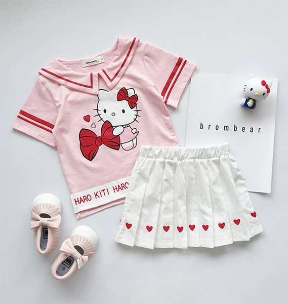 Preppy style kids princess outfits girls Bows cat letter printed stripe T-shirt+heart pleated skirt 2pcs sets children clothing suits Y612