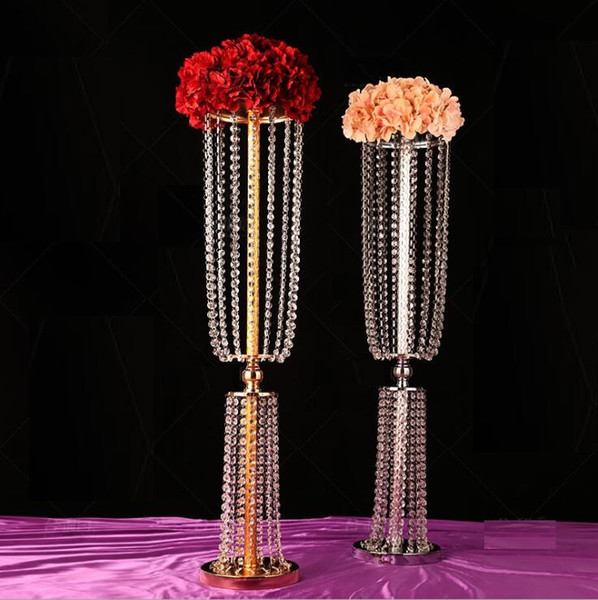 Gold Silver Acrylic Crystal Wedding Flower Ball Holder Table Centerpiece Vase Stand Crystal Candlestick Wedding Decoration