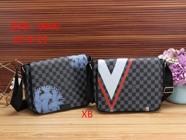2019 new high quality color matching plaid letter brand men shoulder bag women slung business briefcase shoulder bag cosmetic bag handbag