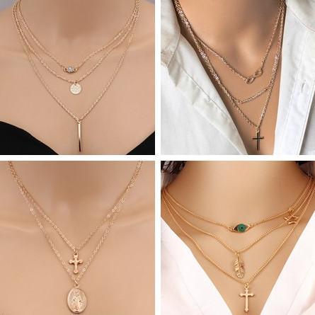 Heißer Verkauf Mehrschichtige Unendlichkeit Kreuz Quaste Feder Herz Kette Halsketten Anhänger für Frauen Geburtstagsgeschenke Collier Femme