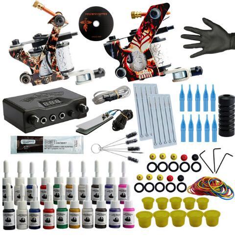 Kit professionnel de tatouage machine de tatouage Kit Guns Rotary machine 20 encres Set d'alimentation Tattoo Complete Set Starter Débutant
