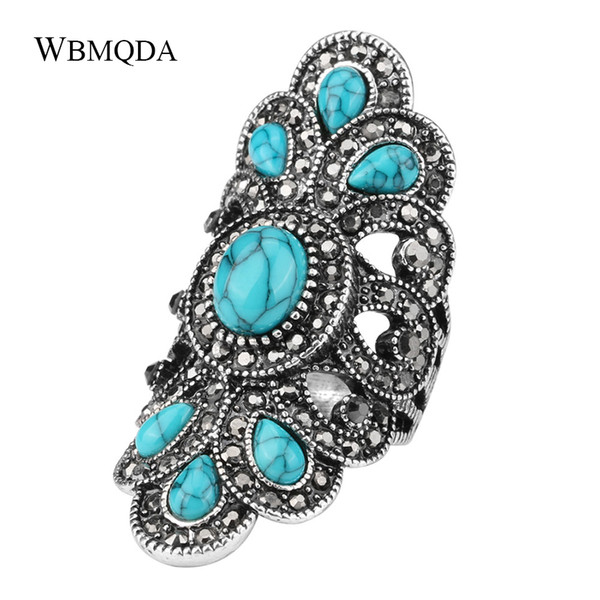 Fashion Ethnic Peacock Big Rings For Women Vintage Blue Stone Black Crystal Antique Silver Ring Statement Bohemian Jewelry 2018