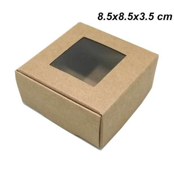 Brown 8.5x8.5x3.5cm Kraft Paper Plastic Window Gift Christmas Event Day Packaging Box Paper Boadr Foldable Package Boxes for Candy Chocolate