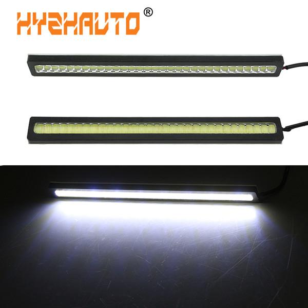 HYZHAUTO 2Pcs impermeabile COB dell'automobile LED della nebbia luci di marcia diurna luci con lente di alluminio Shell 17 centimetri Car DRL bianco della lampada 6500K