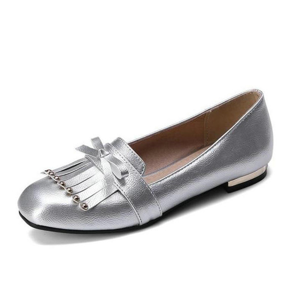 autumn round head rivet tassel comfortable brands women's shoes shallow mouth silver wine red single shoes loafers female