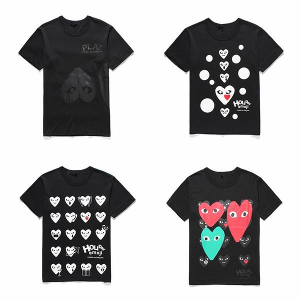 Lover Grey COM DES G GARCONS CDG HOLIDAY Heart Emoji T-shirt nuovi grandi cuori rossi limitano l'espressione amore coppie