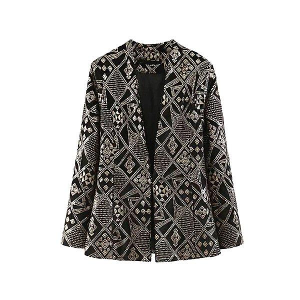 Bayan Elmas Payetli Altın Blazers Bayanlar Kadife Blazer Minimalist Ekose Ceketler Kadınlar Chic Boncuk Suits Kadın Üstleri Setleri