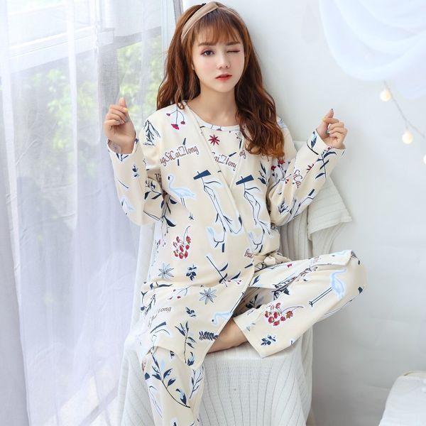 549 Fashion Maternity Sleepwear Pregnant Women Pajamas Nursing Breast Clothing for Feeding Nursing Clothes Nightgown Set