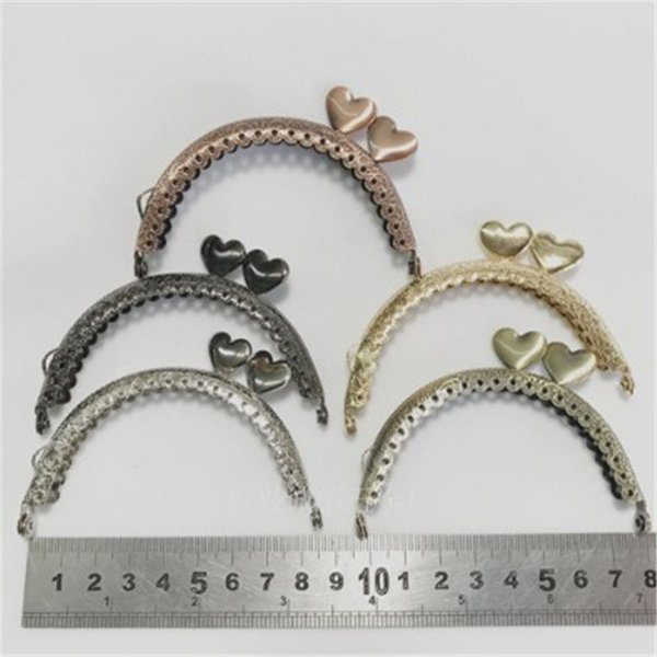 8.5cm Coin Metal Purse Frame Making Kiss Clasp Lock for Clutch Bag Handle 5 Colors Accessories Red Bronze Tone Bags Hardware