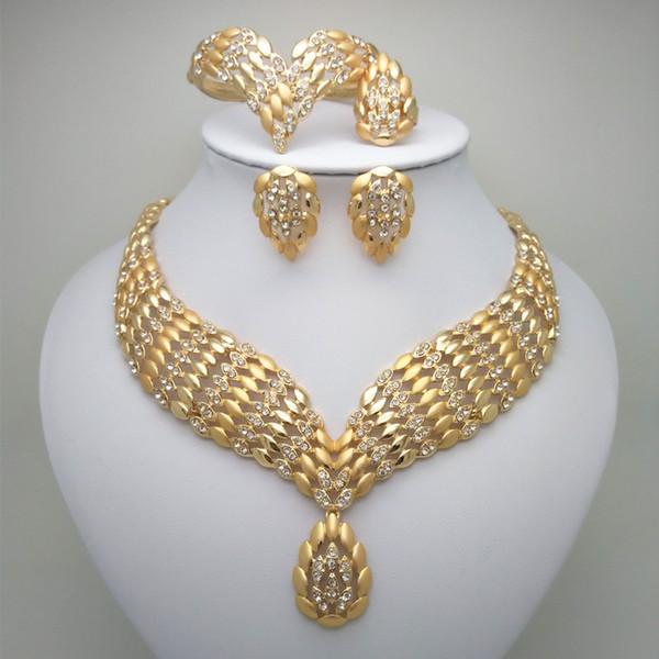 Ethiopian Round Jewelry Set Gold Color Necklaces Earrings Bangle Ring Habesha Jewelry Eritrean Wedding
