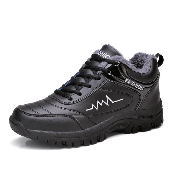 Masculino Botas de Neve de Inverno Homens De Pele Vestido de Condução Sneakers Lace Up Mens Preto Punk Bota Sapatos de Trabalho Lona de Trabalho Homem Sapatos de Inverno