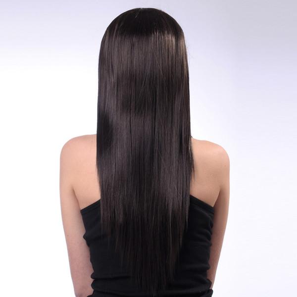 Peruca de Cabelo cuidados Peruca de Moda feminina de Cabelo Humano Preto Misturado Com Fibra Sintética Em Linha Reta Longa 60 cm Jan29