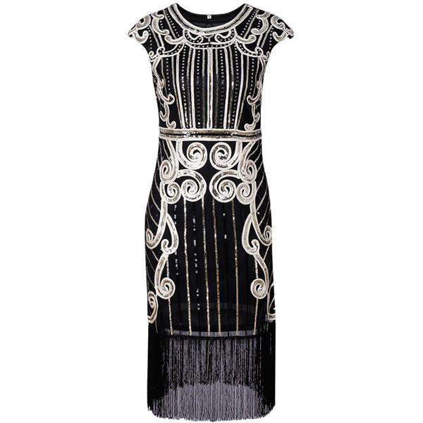 2019 women's hot style restoring ancient ways hand knitting dress tassel dress sequins party evening dress