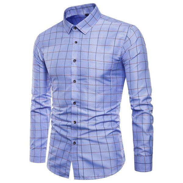 Mens Long Sleeve Oxford Formal High-grade pure cotton Plaid Long sleeve shirts men's slim Fit Casual business shirt Top M-5XL