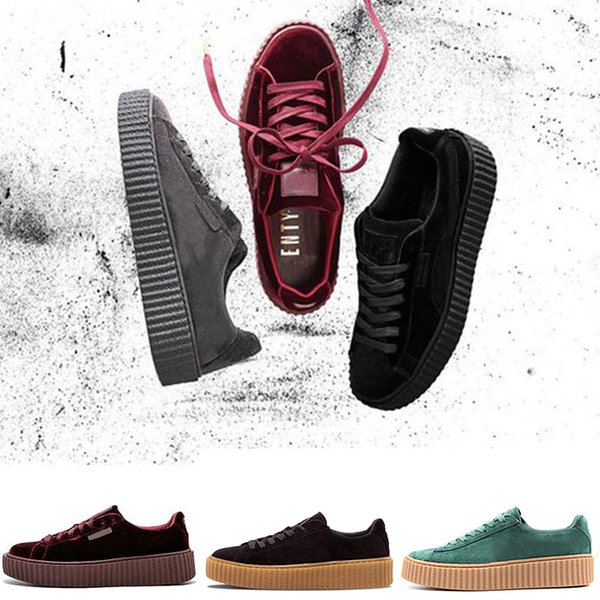 Acheter Nouvelle Arrivée Fenty Creeper Rihanna Velvet En Cuir Craquelé Daim Casual Chaussures Hommes Femmes Livraison Gratuite Baskets De $44.17 Du