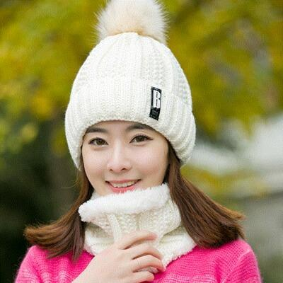 Knitted Hat Women Brand High Quality Winter Women Ball Ski Rabbit Fur Hat PomPoms Hats Knitted Scarf