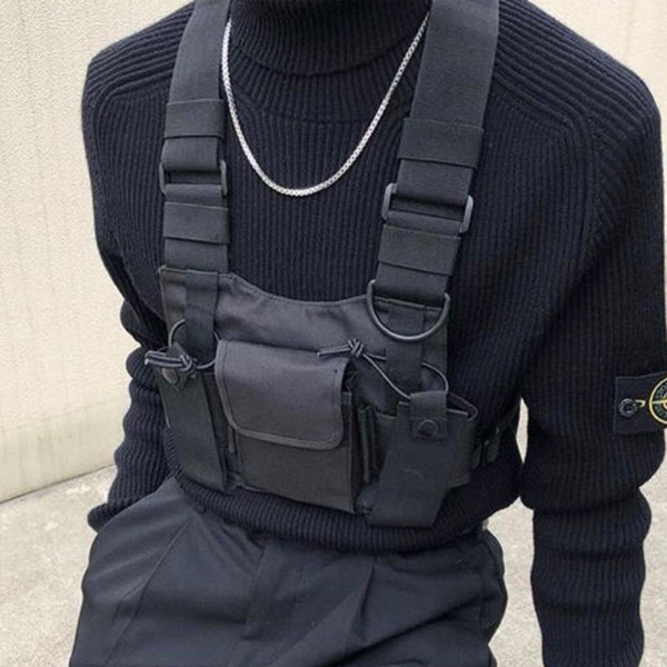 Colete tático Colete de Nylon peito rig Pack Bolsa Moda Hip Hop Harness walkie talkie rádio Pacote de Cintura para Dois Sentidos de Rádio