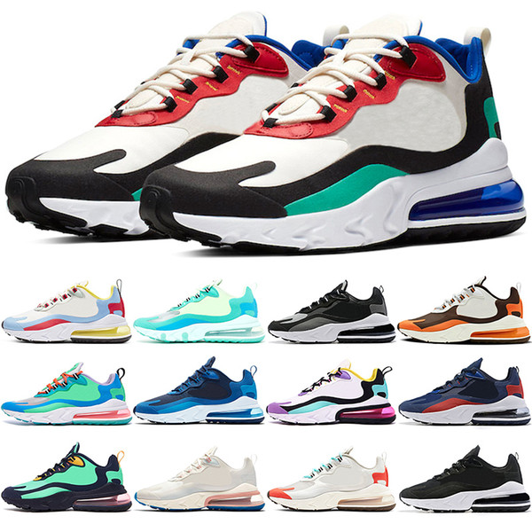Acheter Nike Air Max 270 React Pas Cher Hommes Femmes Chaussures De Course  BE TRUE Jaune Triple Noir Blanc Violet Hommes Designer Trainer Sneaker ...