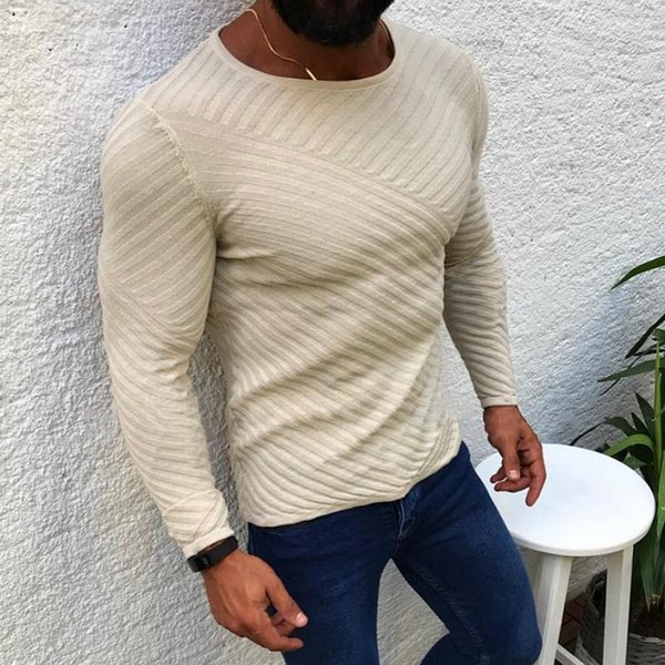 2019 SHUJIN 2019 Mens Slim Fit Casual Sweater Personality Fashion Woven Stitching Pullover Thick Sweater Male Clothes Autumn Winter From Zjc006,