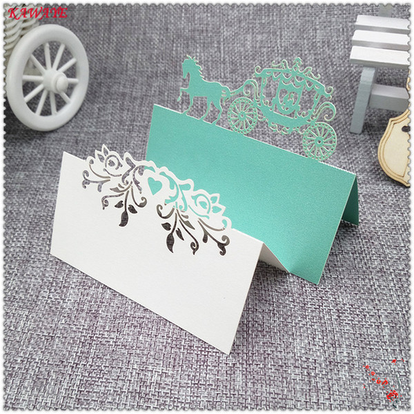 50pcs Heart/ butterfly / flower / Horse Laser Cut Place Name Card Paper Seat Cards Party Festival Wedding Decorative 9*9cm 6ZZ51