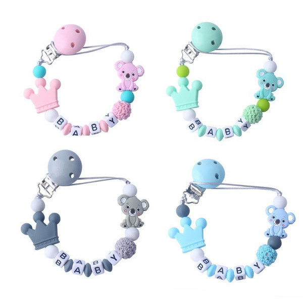 Natural wood cartoon pacifier clip DIY baby molar teether chain toys accessories
