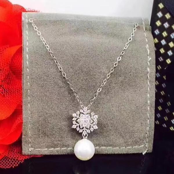 2018 series de Navidad copos de nieve collares moda damas simples collar 925 material de plata collar de moda collar de perlas de cristal