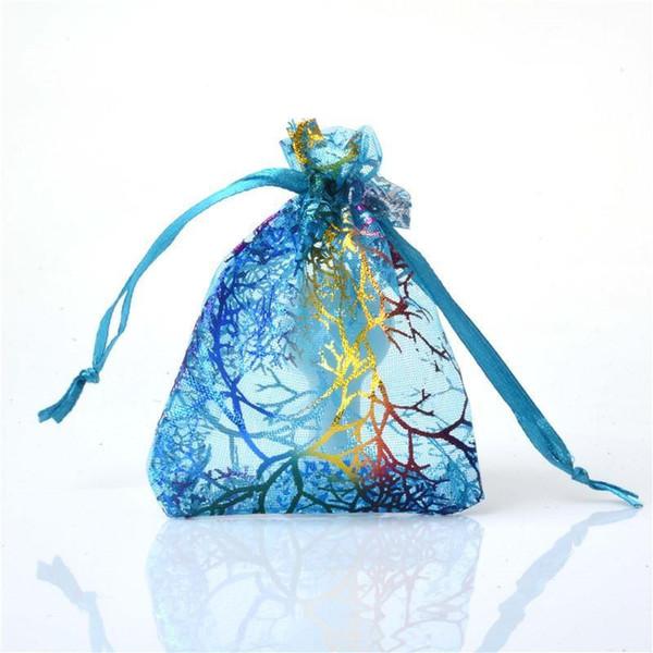 Gros Coralline Style Organza Pochette À Bijoux De Mariage Cadeau De Faveur Sac 7 * 9cm