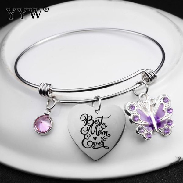 Women Day's Mother's Day Gift Stainless Steel Bangle Best Mom Ever Letter Heart Shape Charm Bracelet Creative Jewelry Rhinestone
